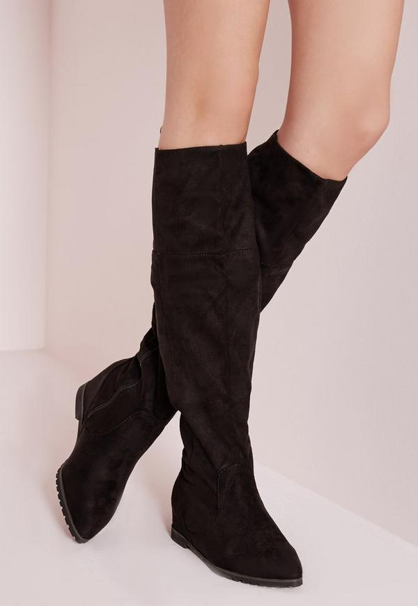 Pointed Toe Hidden Wedge Long Boots Black
