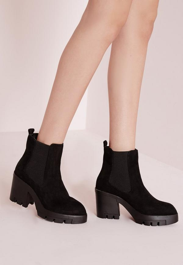 cleated heeled chelsea boots black