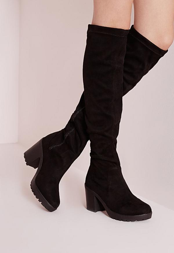 cleated low heel over the knee boots black