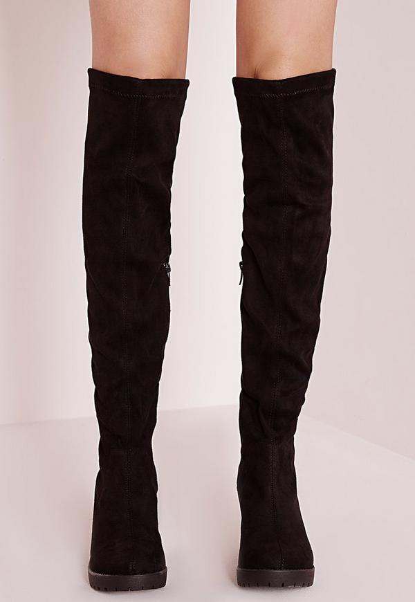cleated low heel over the knee boots black - footwear - long boots ...