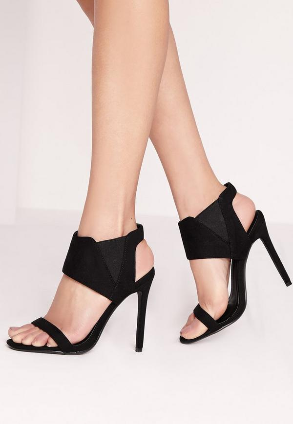 Elasticated Detail Barely There Heels Black