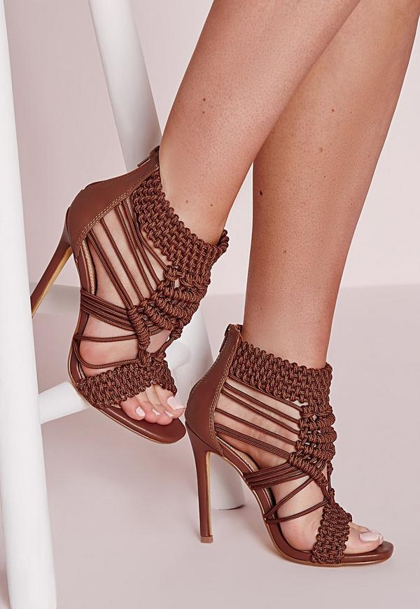 Origami Rope Heeled Sandals Tan Missguided