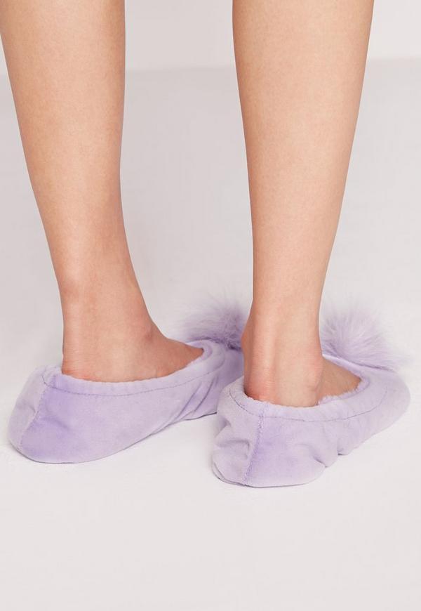 ff914c6efc801 Pom Pom Slippers Purple