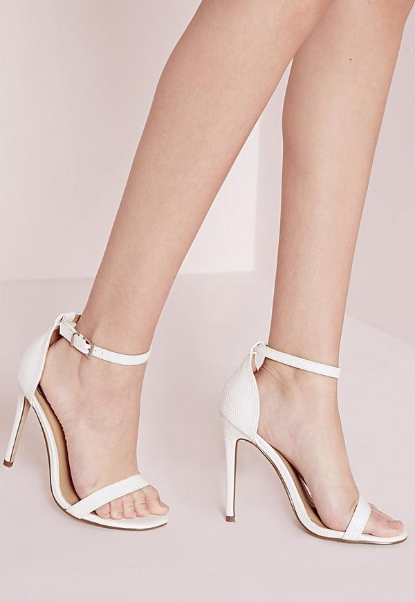 Barely There Strappy Heeled Sandals White Croc Missguided