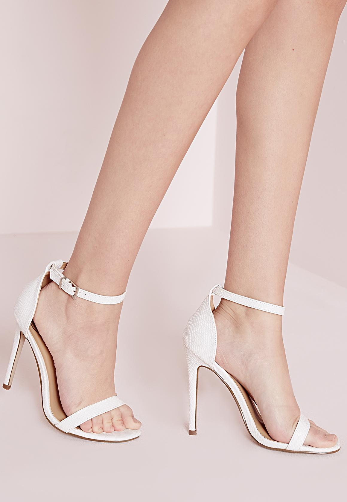Barely There Strappy Heeled Sandals White Croc | Missguided