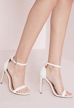 Sandalias de tacón minimalistas de tiras de cocodrilo blancas