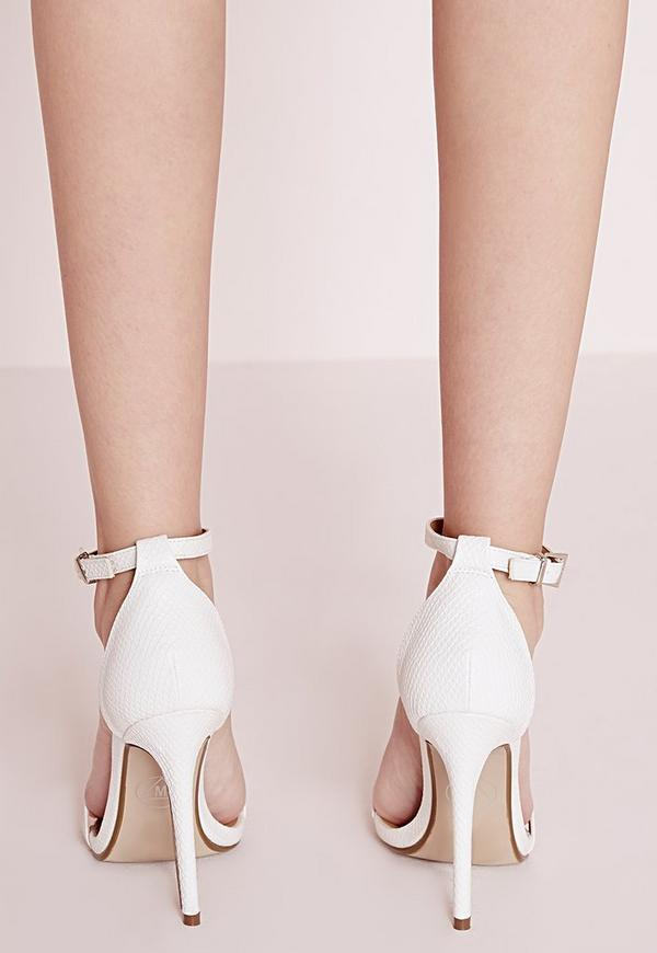 Barely There Strappy Heeled Sandals White Croc - Shoes - High ...