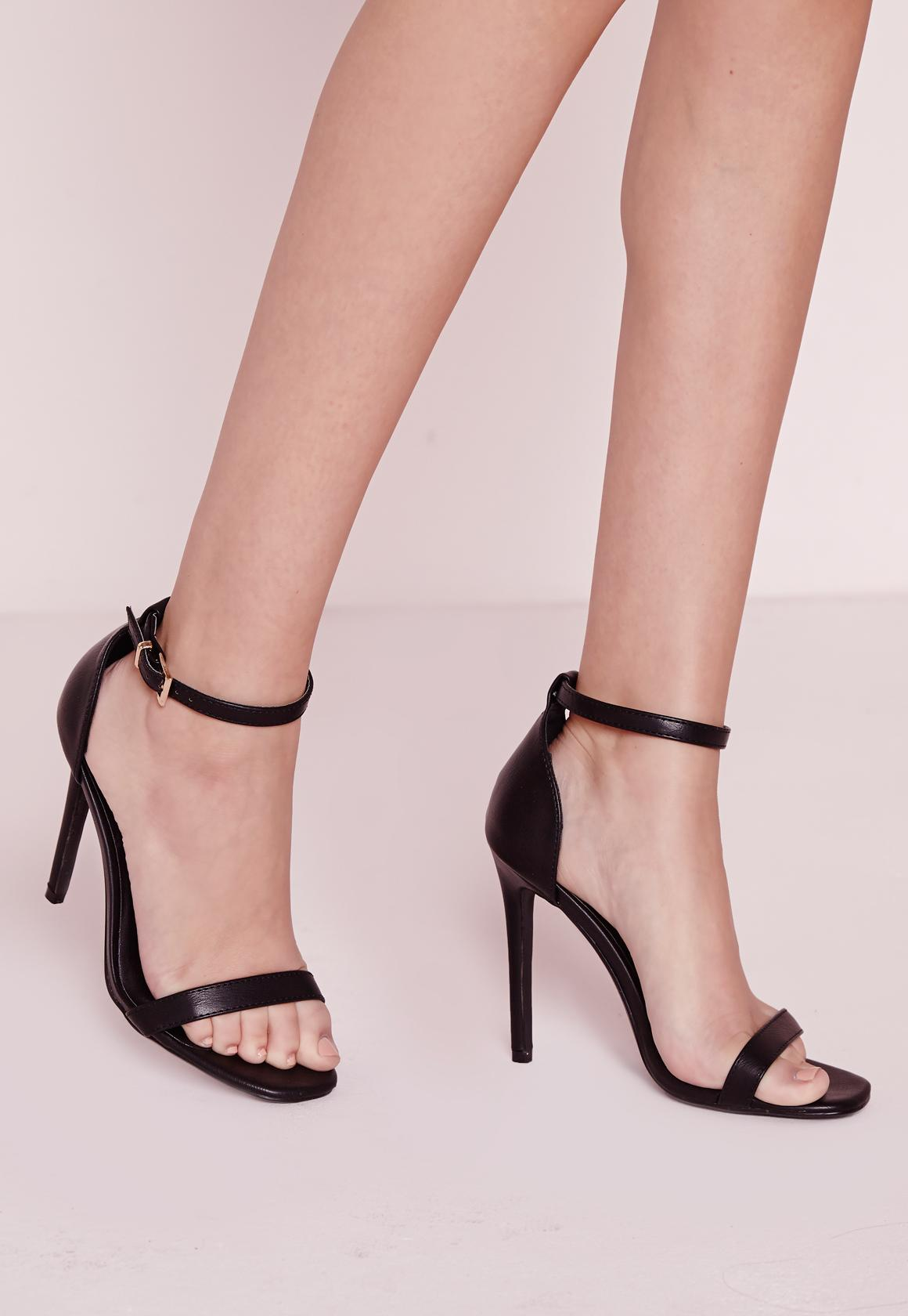Barely There Strappy Heeled Sandals Black - Shoes - High Heels