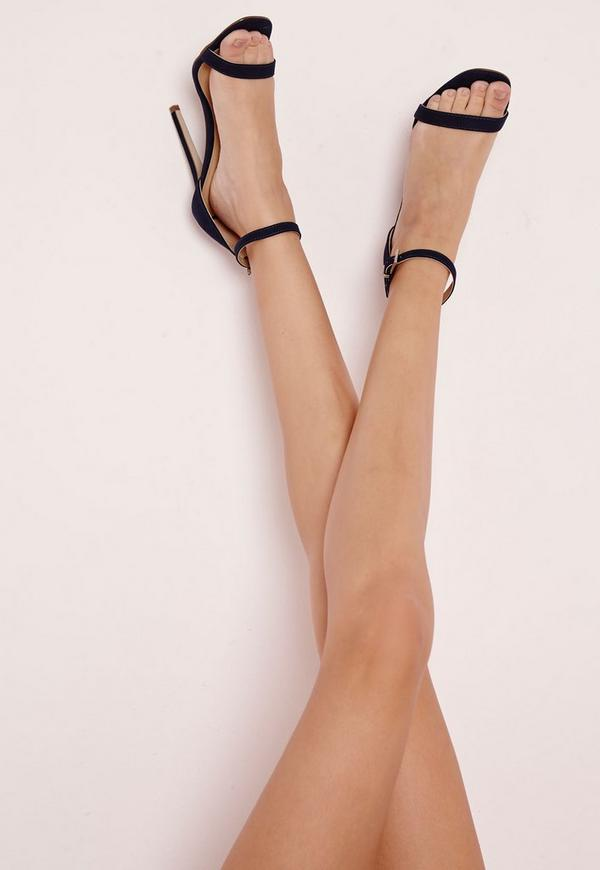Barely There Heeled Sandals Navy Faux Suede