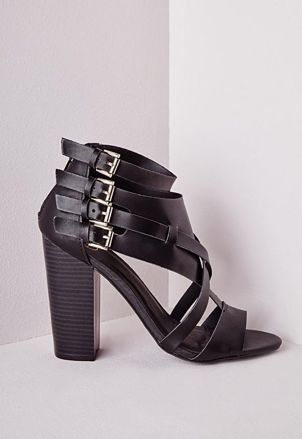 Cross Strap Heeled Gladiator Sandals