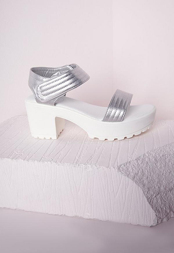 Velcro Cleated Chunky Sandal Silver