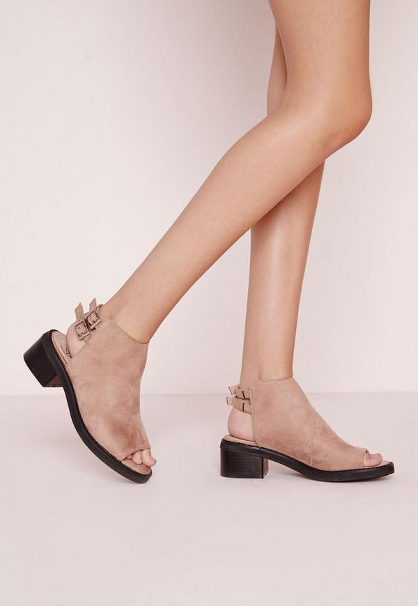 Double Strap Peep Toe Sandals Sand