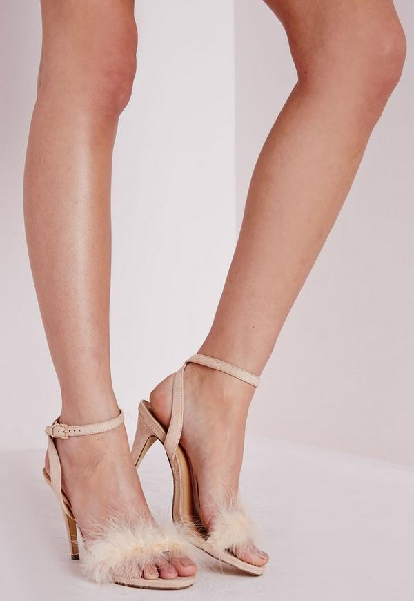 Feather Strappy Heeled Sandals Nude