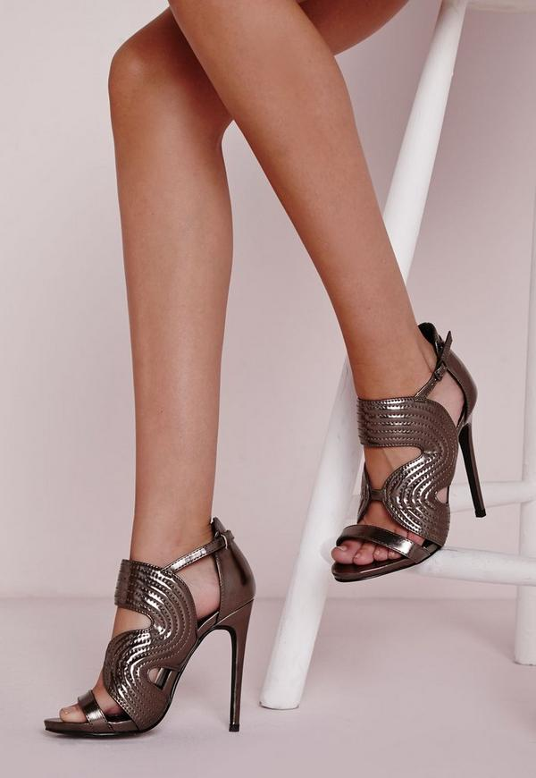 Quilted Metallic Heeled Sandals Silver