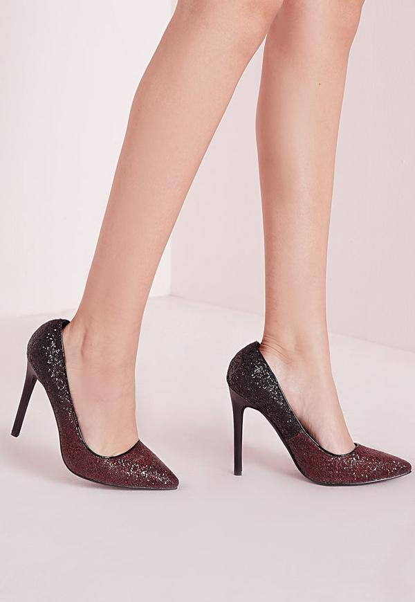 Ombre Glitter Court Shoes Oxblood