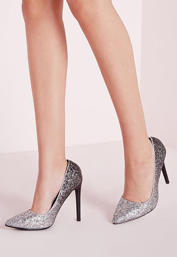 Ombre Glitter Court Shoes Silver