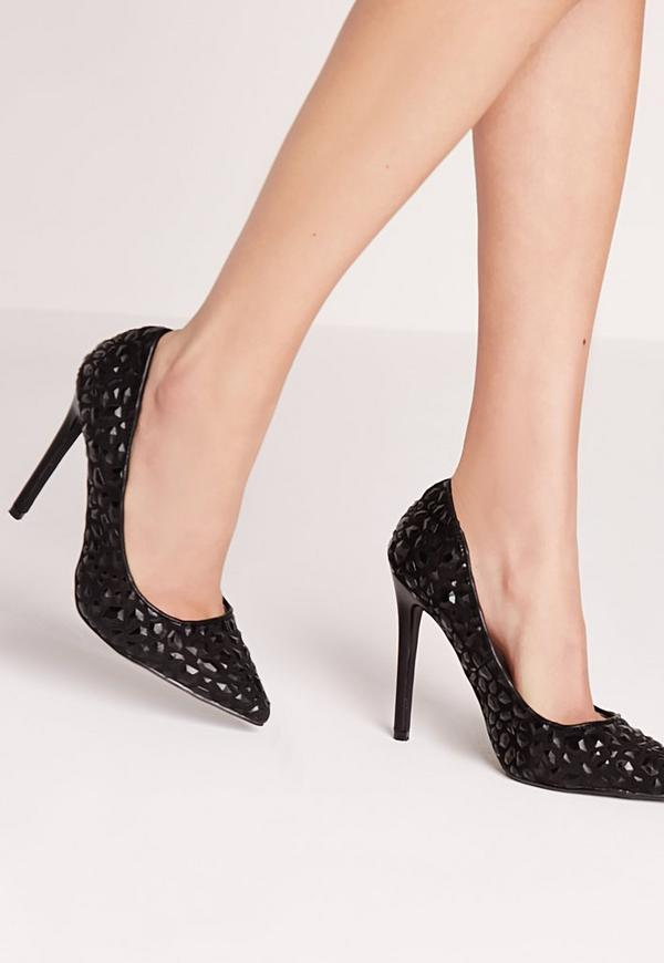 Embossed Stud Court Shoes Black