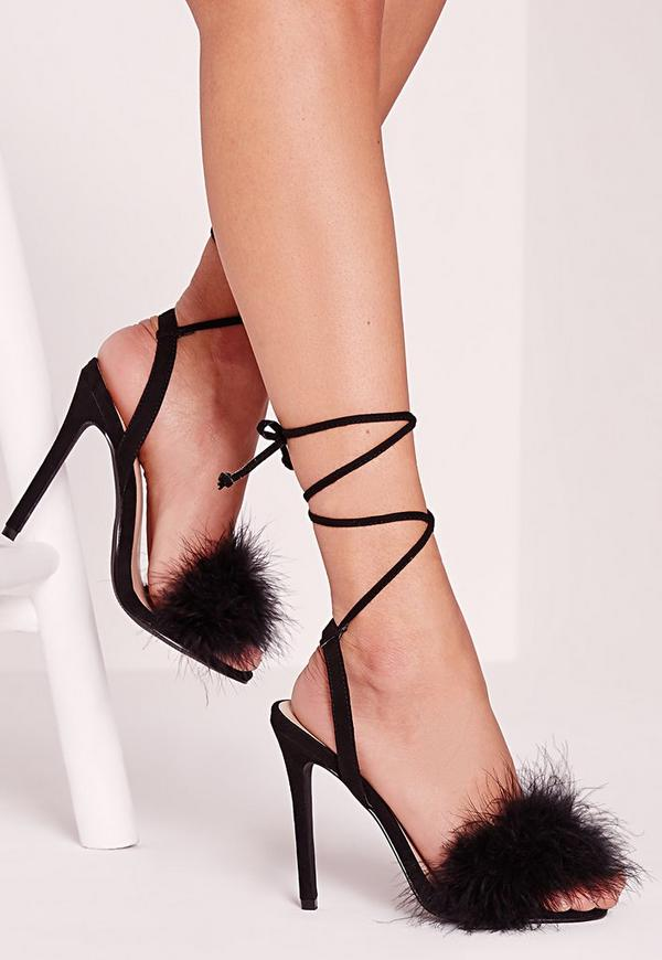 Lace Up Feather Heeled Sandals Black