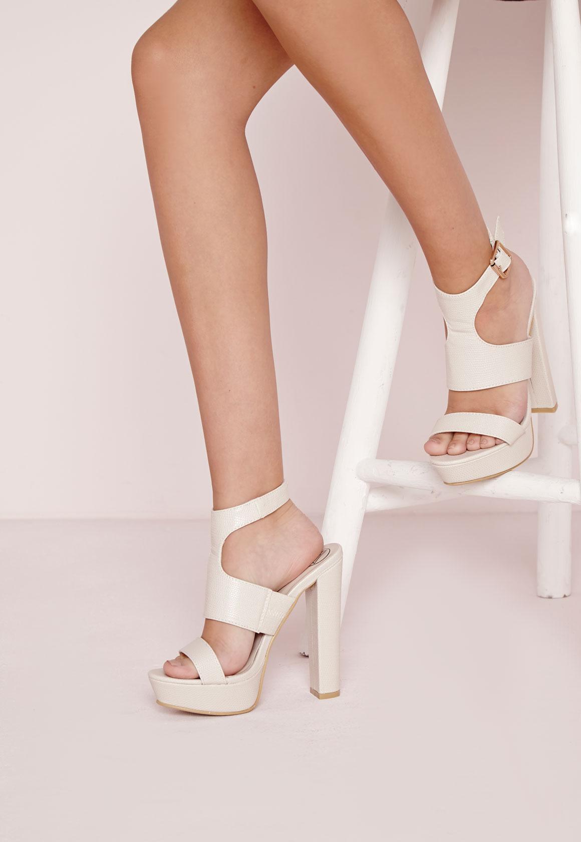 Platform Ankle Strap Heeled Sandals Nude | Missguided