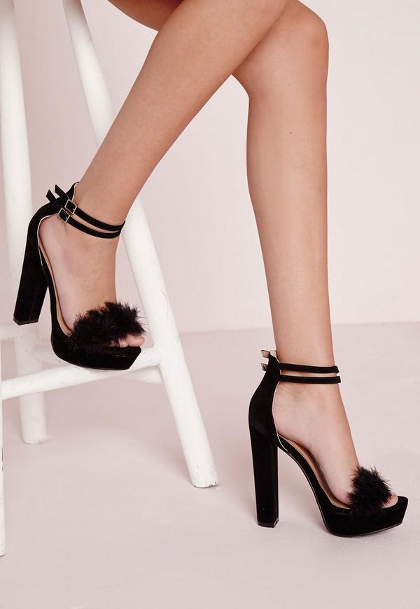 70's Platform Sandal Fur Vamp Black