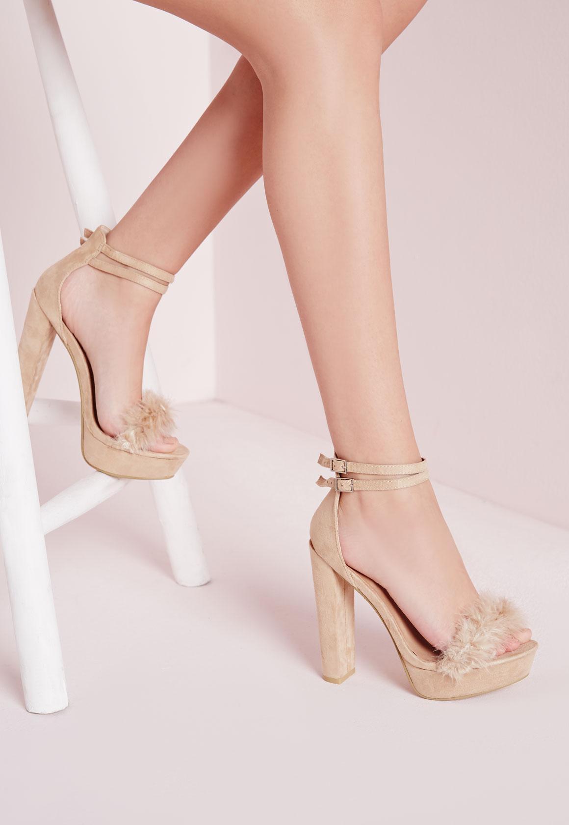 Fur Trim 70's Platform Sandals Cream - Shoes - High Heels - Missguided