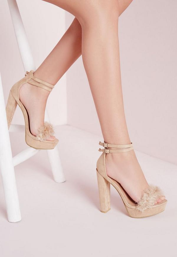 Faux Fur Trim 70's Platform Sandals Cream