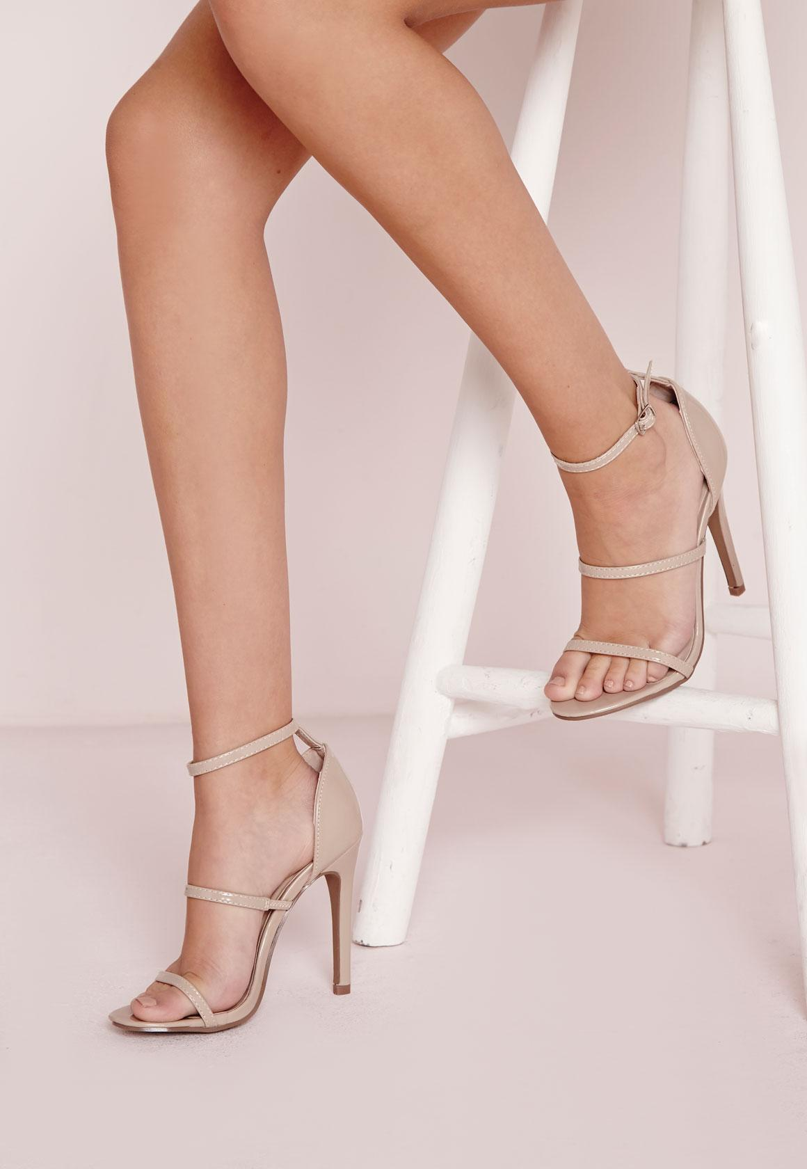 Three Strap Barely There Heeled Sandals Nude | Missguided