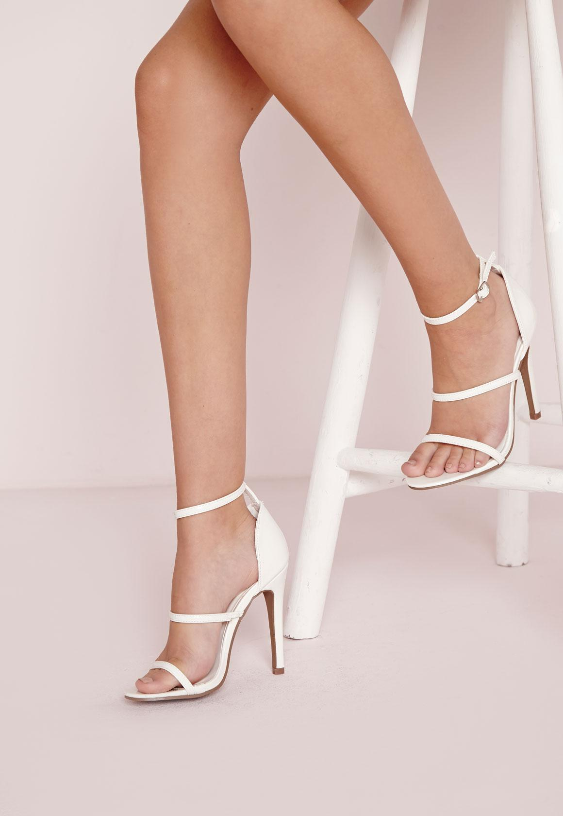 Three Strap Barely There Heeled Sandals White | Missguided