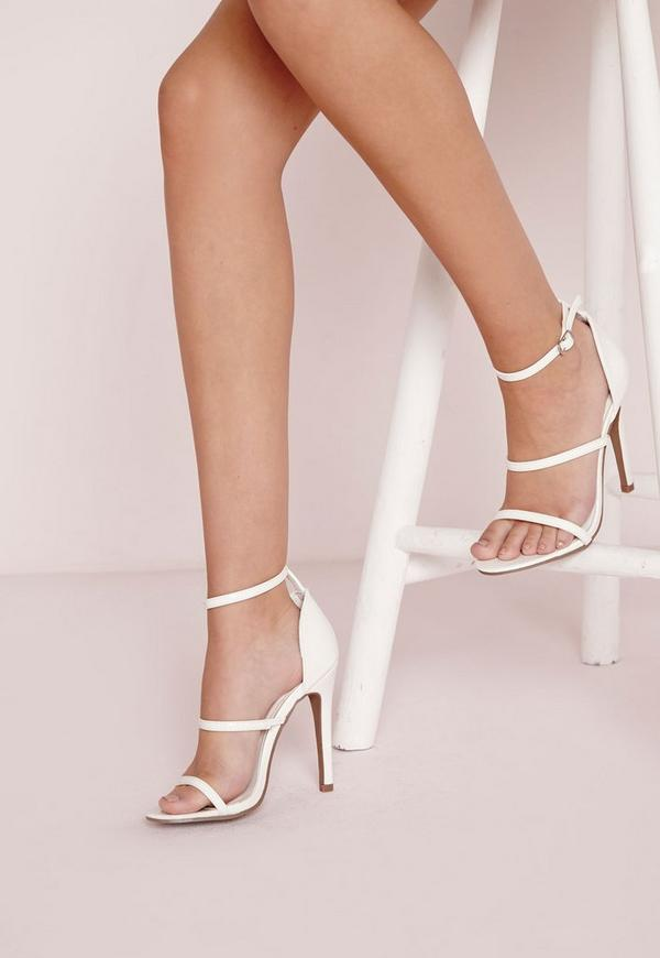 Three Strap Barely There Heeled Sandals White