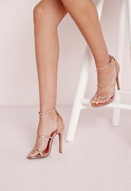 Sandales à talon or rose à lanières fines métallisées