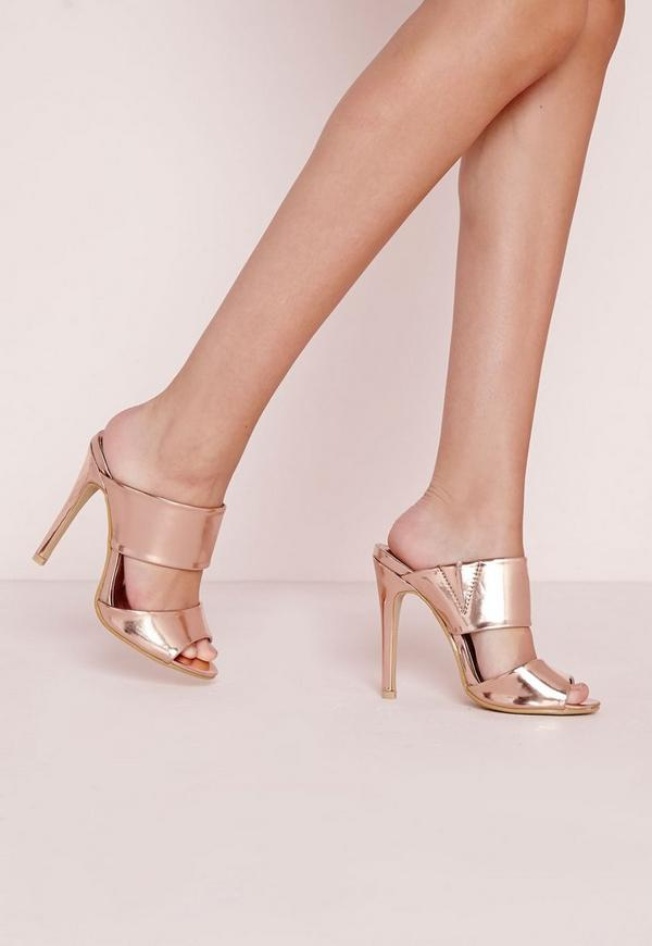 Slip On Mules Rose Gold
