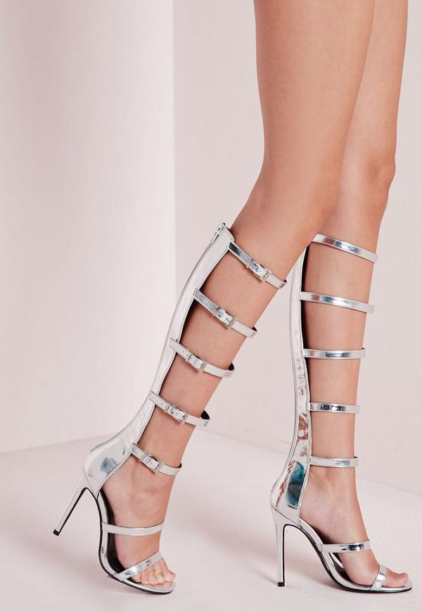 High Shine Heeled Gladiators Silver