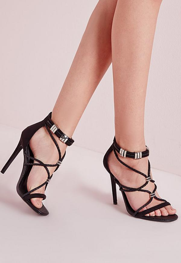 Metal Trim Detail Gladiator Heeled Sandals Black