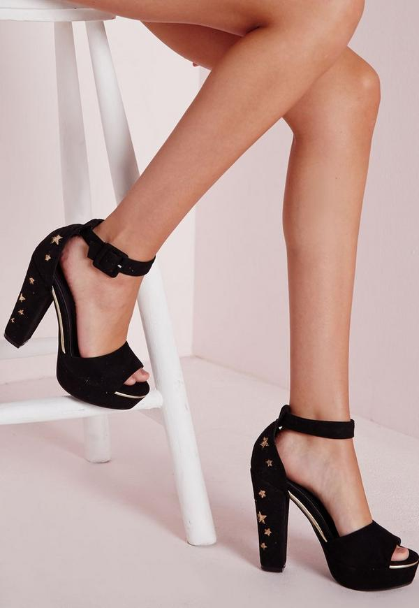 Lasercut Star Platform Sandals Black