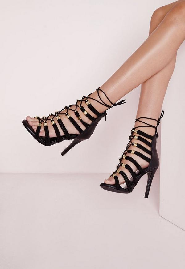 Lace Up Rope Heeled Sandals Black