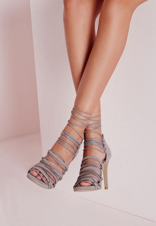 Ultra Strappy Lace Up Gladiator Sandals Grey