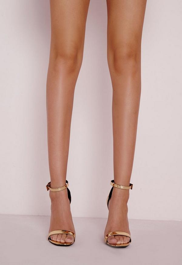 High Shine Barely There Heeled Sandals Gold Missguided