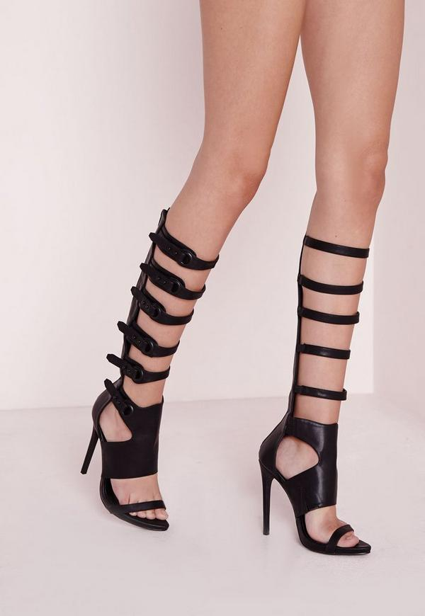 Knee High Eyelet Gladiator Sandal Black