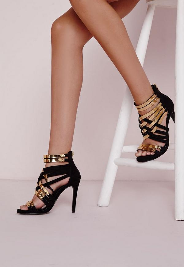 Asymmetric Gold Detail Heeled Sandals Black | Missguided