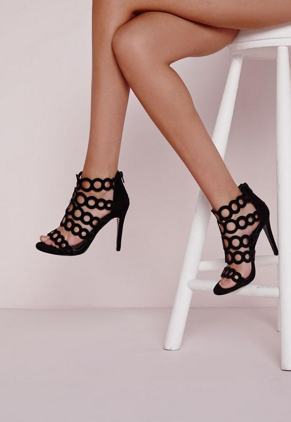 Circular Strap Heeled Sandals Black