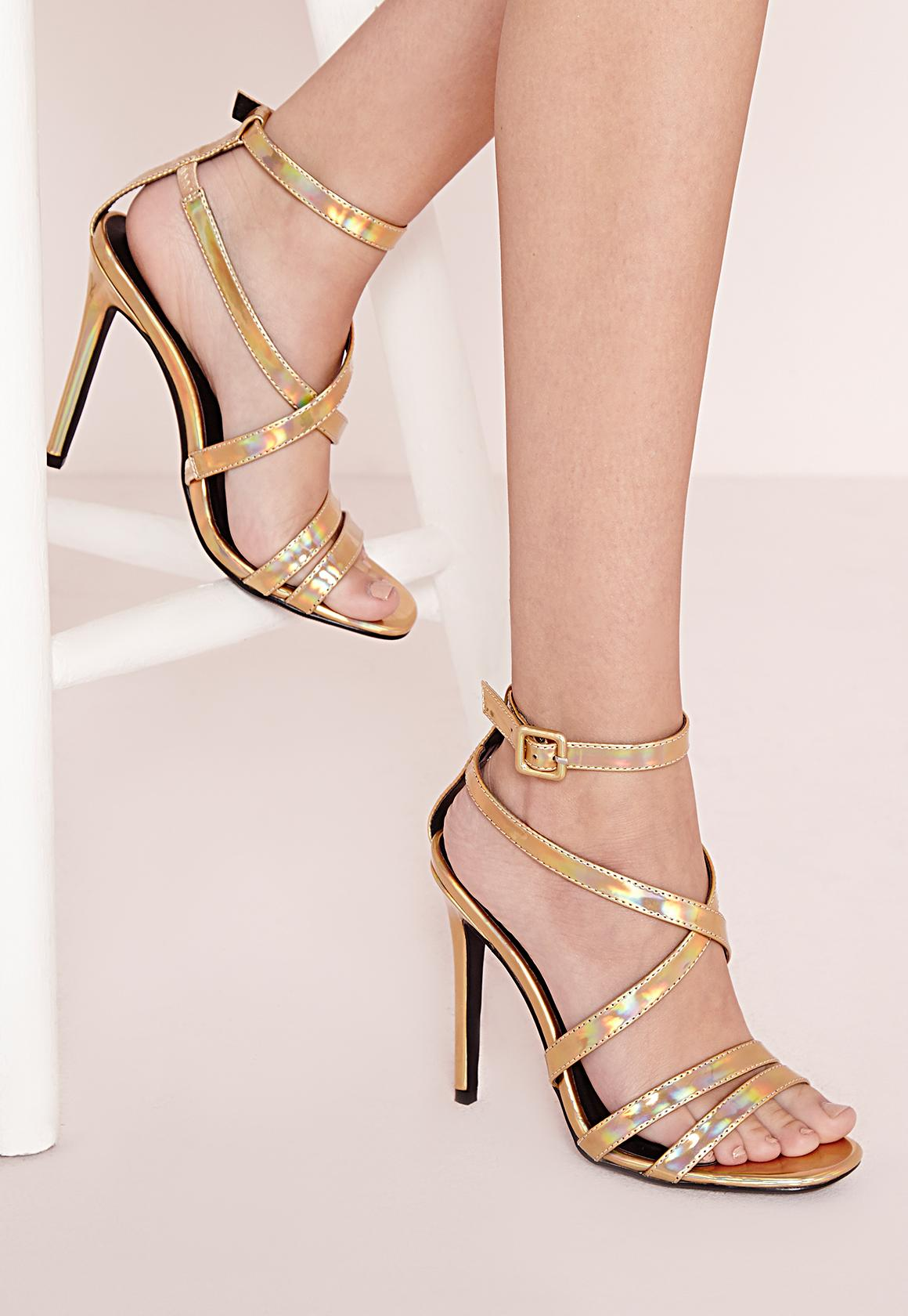 Metallic Gladiator Heeled Sandals Gold | Missguided