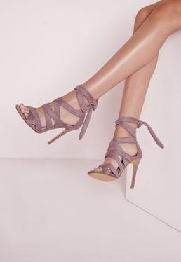 Sandales à talon en suédine mauve