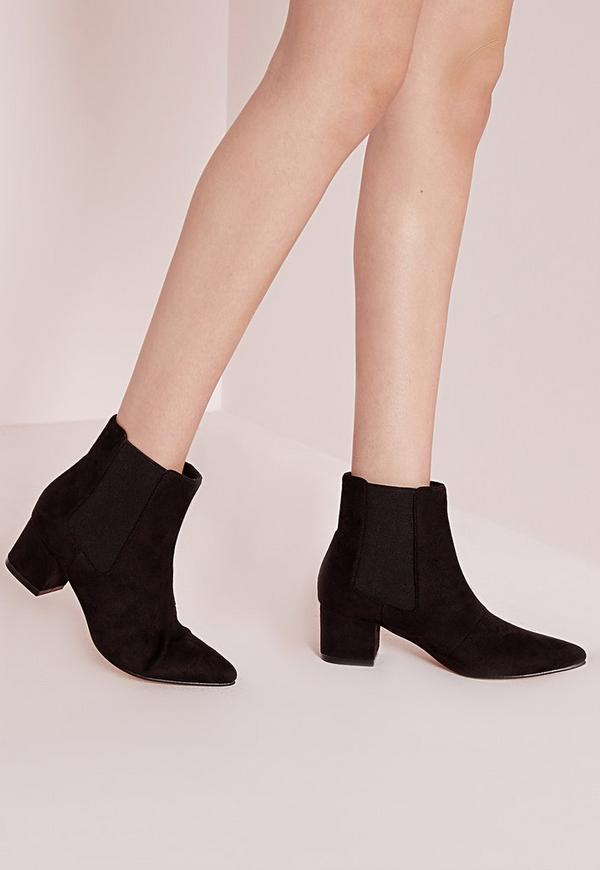 Pointed Toe Chelsea Boots Black