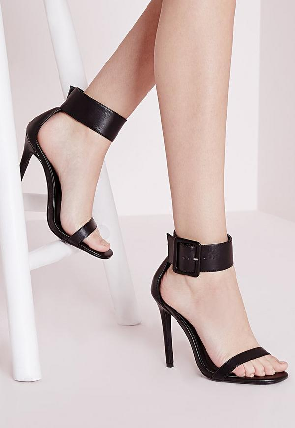 Buckle Trim Barely There Heeled Sandals Black