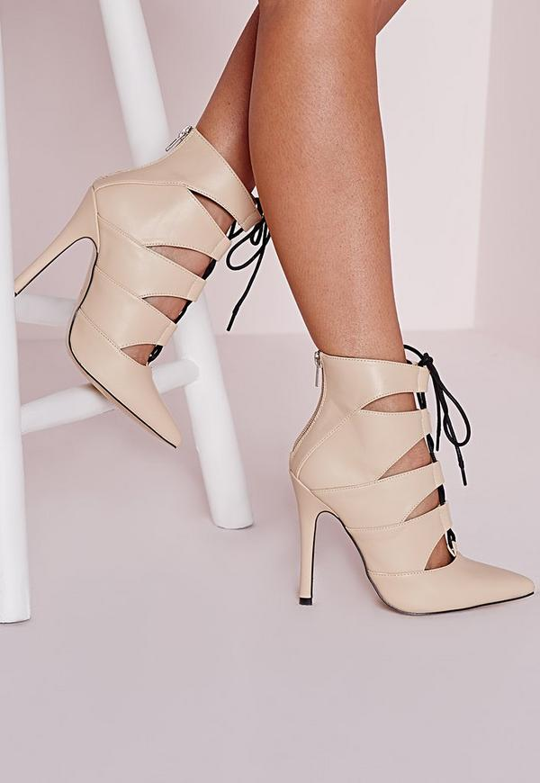 Pointed Toe Lace Up Court Nude