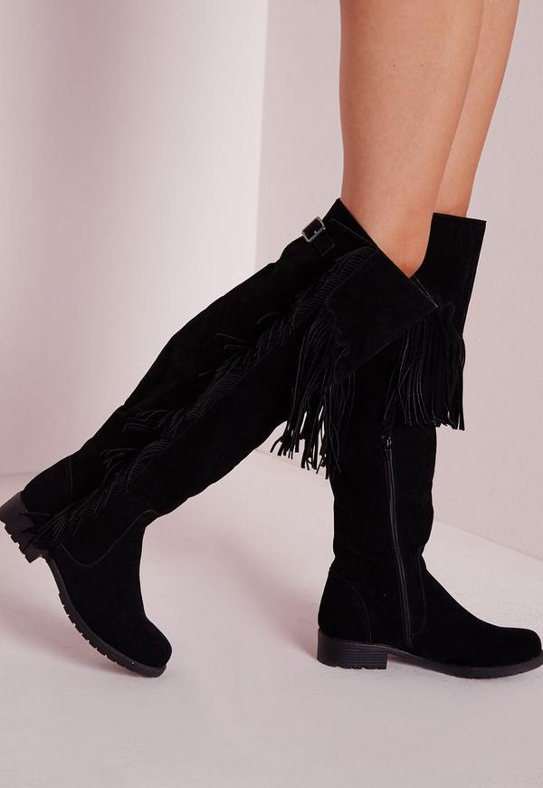 Over The Knee Tassel Boots Black
