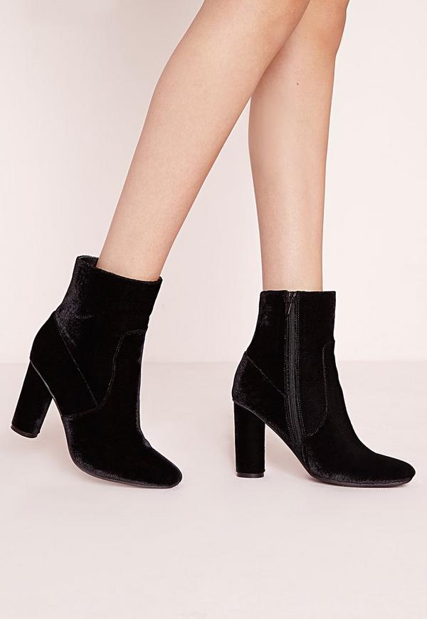 Velvet Ankle Boots Black