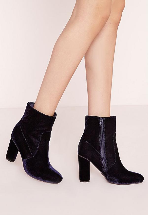 Velvet Ankle Boots Navy
