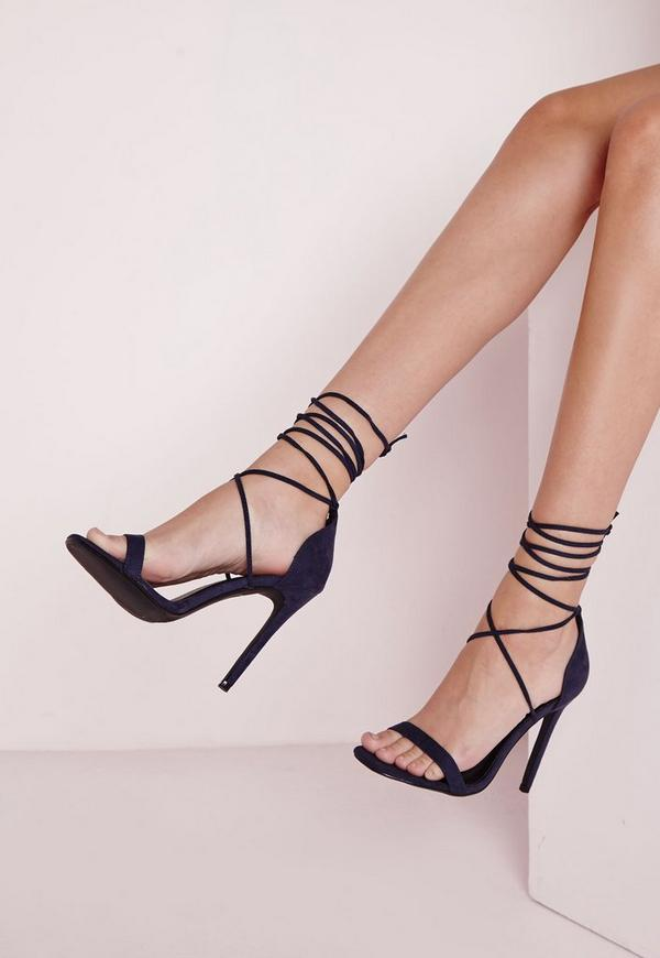 Lace Up Barely There Heeled Sandals Navy