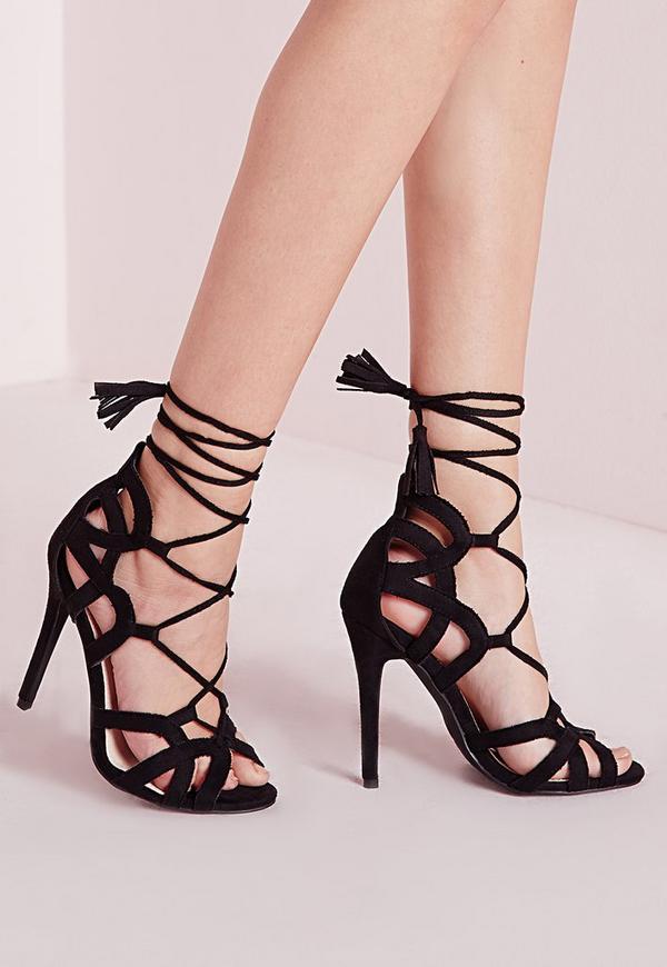Tassel Trim Lace Up Gladiator Sandals Black